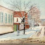 2013, Zima w mieście, Winter in der Stadt, olej na sklejce, 29 x 39 cm.