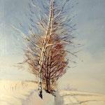 2015, Zima, olej na sklejce, 21 x 30 cm.