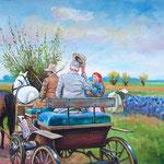 2009, Pozdrowienie, Begrüßung, olej na płótnie, 34 x 46 cm.  夏