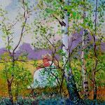 2011, Rozmyslania, olej na płótnie, 30 x 40 cm. 夏