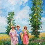 2010, Przyjaciółki. olej na płótnie, 30 x 40 cm.