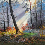 2013, Słońce w lesie, olej na sklejce, 30 x 40 cm.