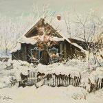 2016, Śnieg, Schnee, Snow, olej, płótno lniane na sklejce, 38,5 x 44,5 cm.