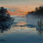 2013, Poranek nad jeziorem, Sunrise over the lake, olej na płótnie lnianym, 30 x 40 cm.