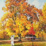 2012, Jesienny spacer, olej na płótnie lnianym, 40 x 50 cm.