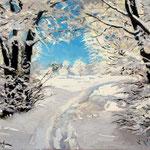 2015, Zima w lesie, Winter im Wald, olej na sklejce, 30 x 40 cm.