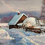 2013, Zima na wsi, olej na płótnie lnianym, 30 x 40 cm. Зима, снег, деревня, 冬季,雪,村