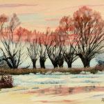 2019, Zima nad rzeką, Winter am Fluss, olej na płótnie, 30 x 40 cm.