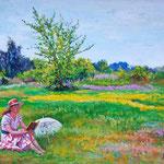 2009, Relaks, olej na płótnie, 34 x 47 cm.