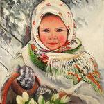 2015, Dziewczynka z tulipanami, girl with tulips, olej na płótnie lnianym, 40 x 50 cm.