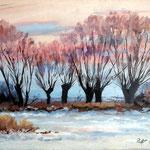 2013, Zima, olej na płótnie lnianym, 30 x 40 cm. 冬季,雪,村