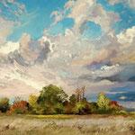 2014, Pejzaż z chmurami, Landscape with clouds, olej na płótnie lnianym, 40 x 50 cm. 夏