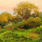 2014, Łąka, Wiese, Meadow, olej na sklejce, 27 x 37 cm.