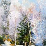 2017, Zima w lesie, Winter im Wald, olej na płótnie lnianym, 24 x 30 cm.