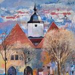 2011, Widok na ratusz w Jenie, olej na kartonie,  28 x 38 cm.