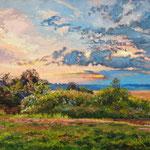 2012, Zachód słońca, olej na płótnie, 77 x 50 cm.