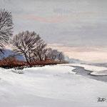 2012, Zimowy sen, olej na płótnie lnianym, 30 x 40 cm. Зима, снег, деревня