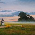 2015, Wieczorne mgły, Abendnebel, olej, płótno lniane, 40 x 69 cm.