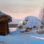 2011, zima na wsi 5, Winter auf dem Lande, olej na płótnie, 24 x 30 cm. Winter in the countryside, Зима, снег, деревня, 冬季,雪,村