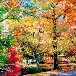 2009, jesień w parku, olej na płótnie, 30 x 40 cm.