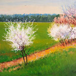 2013, Czas na wiosnę, olej na płótnie lnianym, 30 x 40 cm. Spring, Frühling.