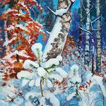 2010, Śnieg,  olej na płótnie, 50 x 70 cm.