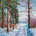2009, Na skraju lasu, olej na płótnie, 30 x 40 cm.
