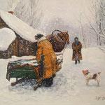 2015, Zima na wsi, Winter auf dem Land, olej na płótnie lnianym, 40 x 50 cm. 冬天,雪,马,女孩,雪橇