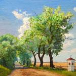 2013, Lato na wsi, olej na sklejce, 30 x 40 cm. Sommer auf dem Land