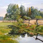 2014, pejzaż z płotem, Landschaft mit Zaun, olej na sklejce, 30 x 40 cm.