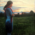 2008, Bożenka w Magdeburgu, olej na płycie, 30 x 40 cm.