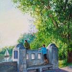 2009, Na moście w Magdeburgu, olej na płótnie, 30 x 40 cm. 夏