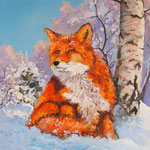 2012, Lis,  狐狸, fox, лиса, olej na płótnie, 40 x 50 cm.