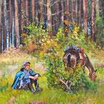 2010, odpoczynek ułana, olej na płótnie, 30 x 35 cm.
