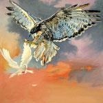 2016, Jastrząb i gołąb, Habicht und Taube, Hawk and Dove, olej na płótnie, 60 x 70 cm.