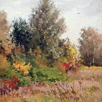 2014, Łąka 8, Meadow, Wiese, olej na płótnie lnianym, 25 x 30 cm. 秋