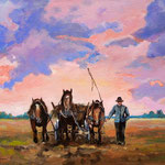 2011, Wieczór, olej na płótnie,  30 x 40 cm.