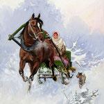 2014, Sanna, olej na płótnie lnianym, 30 x 40 cm. сани, лошади, девушка, Funny sleigh ride, 冬天,雪,马,女孩,雪橇