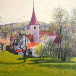 2014, Wiosna, Frühling, Olej na desce, 22 x 28,5 cm.