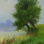 2013, Wieczór nad jeziorem, olej na kartonie, 18,5 x 27 cm.