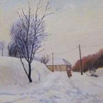 2011, zwykły zimowy dzień, olej na płótnie, 24,5 x 30,5 cm. Зима, снег, деревня