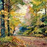 2014, Jesień w lesie, Herbst im Wald, olej na kartonie, 31 x 39 cm. Autumn in the forest, 秋