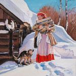 Zima na wsi 9, olej na płótnie, 24 x 30 cm. Зима, снег, деревня