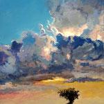 2012, Słońce za chmurami, Sun behind the clouds, olej na płótnie, 30 x 40 cm.