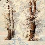 2015, Zima, Winter, olej na desce, 24 x 30 cm.