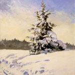2016, Śnieg, Schnee, Snow, olej, płótno na płycie, 30 x 40 cm