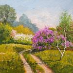 2013, Wiosna w parku, olej na sklejce, 30 x 40 cm.