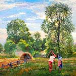 2012,  Im Gespräch, Öl auf Leinen, 50 x 70 cm.  夏