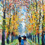 Jesienny spacer, Herbstspaziergang, olej na płótnie, 30 x 40 cm.
