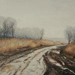 2015, Deszczowy dzień, Rainy day, Regnerischer tag, olej na kartonie, 26 x 45 cm.
